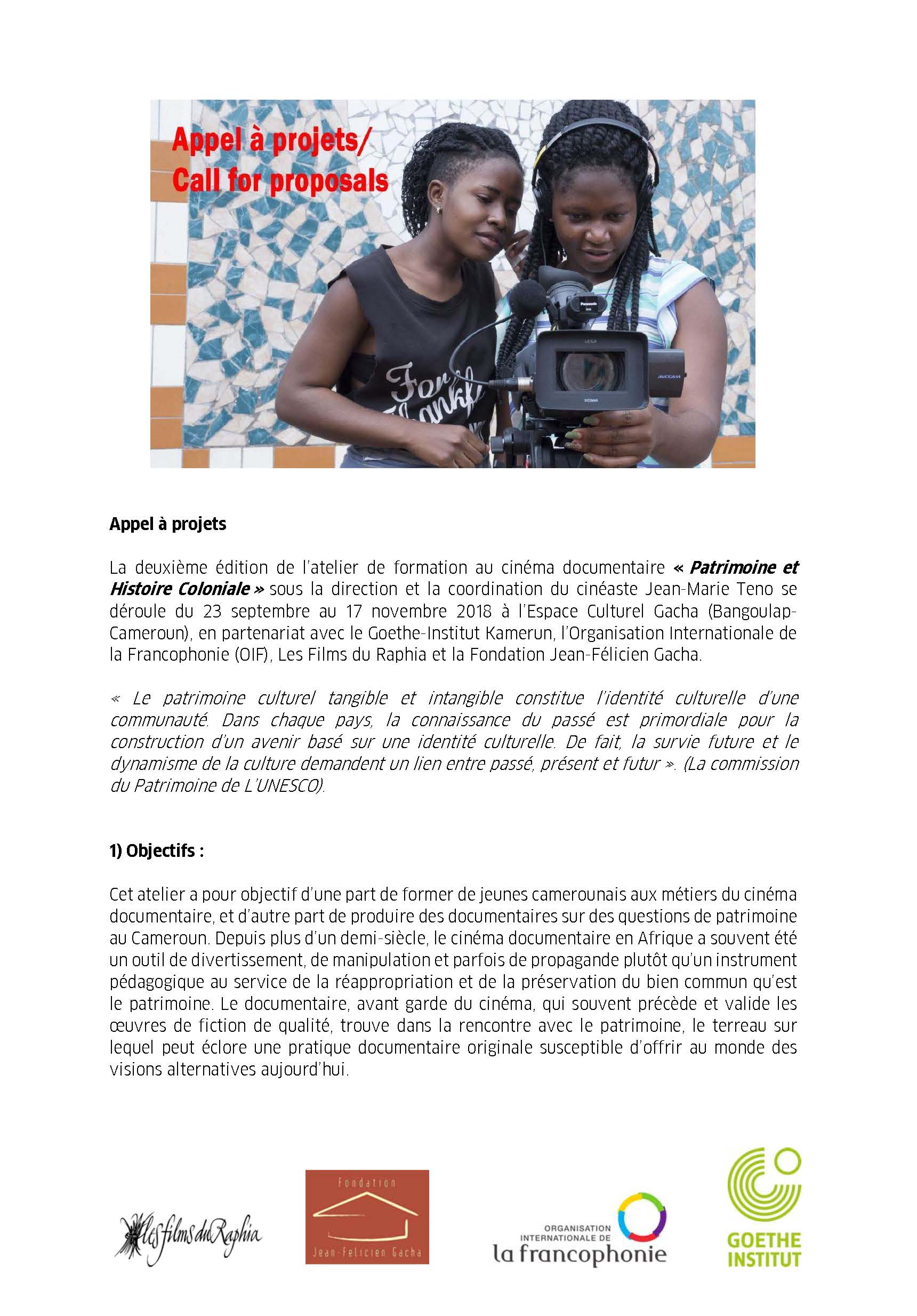 CALL FOR PROJECTS 2018/ DOCUMENTARY FILM TRAINING  23 SEPTEMBER-17 NOVEMBER 2018