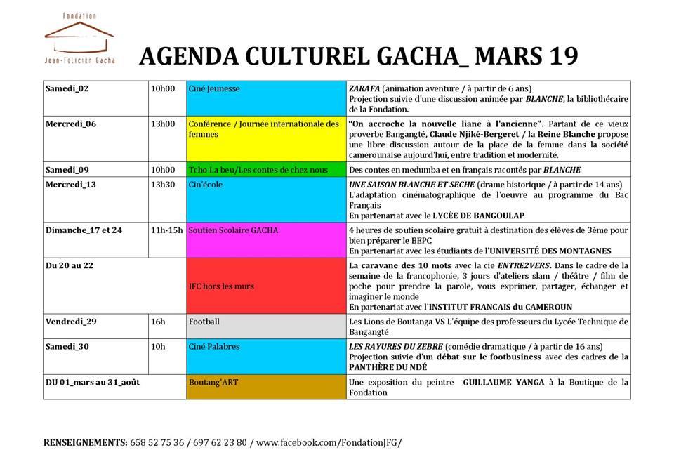 Mars 2019 à la Fondation Gacha : Agenda culturel