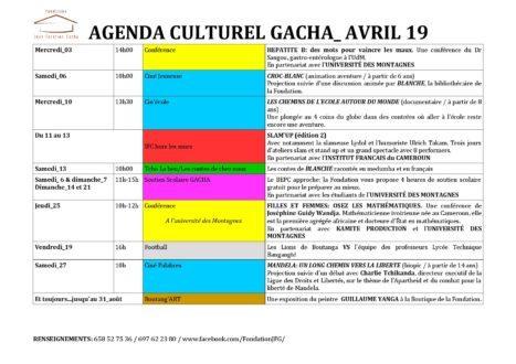 Agenda culturel d'Avril 2019 à la Fondation Gacha