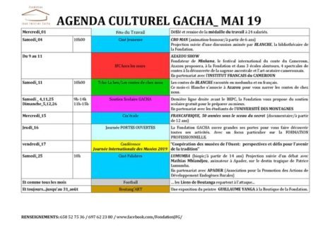 AGENDA CULTUREL DU MOIS DE MAI à LA FONDATION GACHA