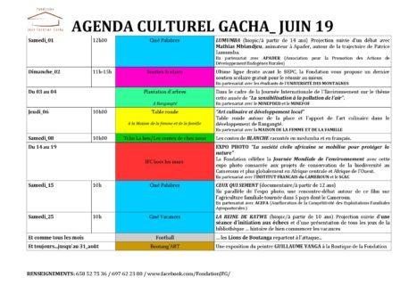 Agenda culturel du mois de Juin à la Fondation Gacha