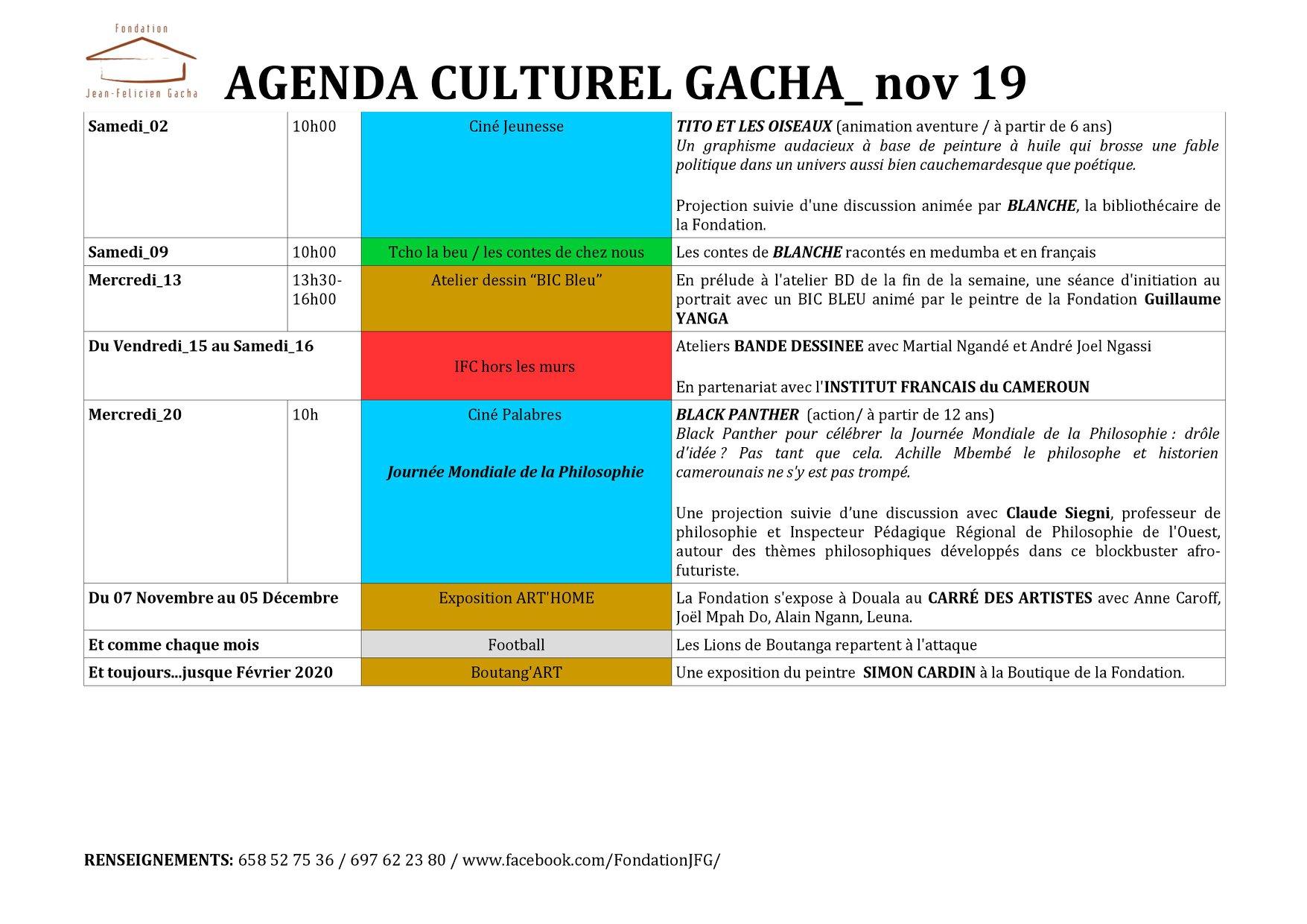 agenda culturel du mois de novembre