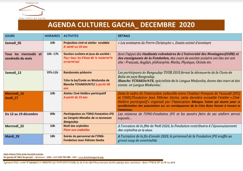 AGENDA CULTUREL DU MOIS DE DECEMBRE 2020
