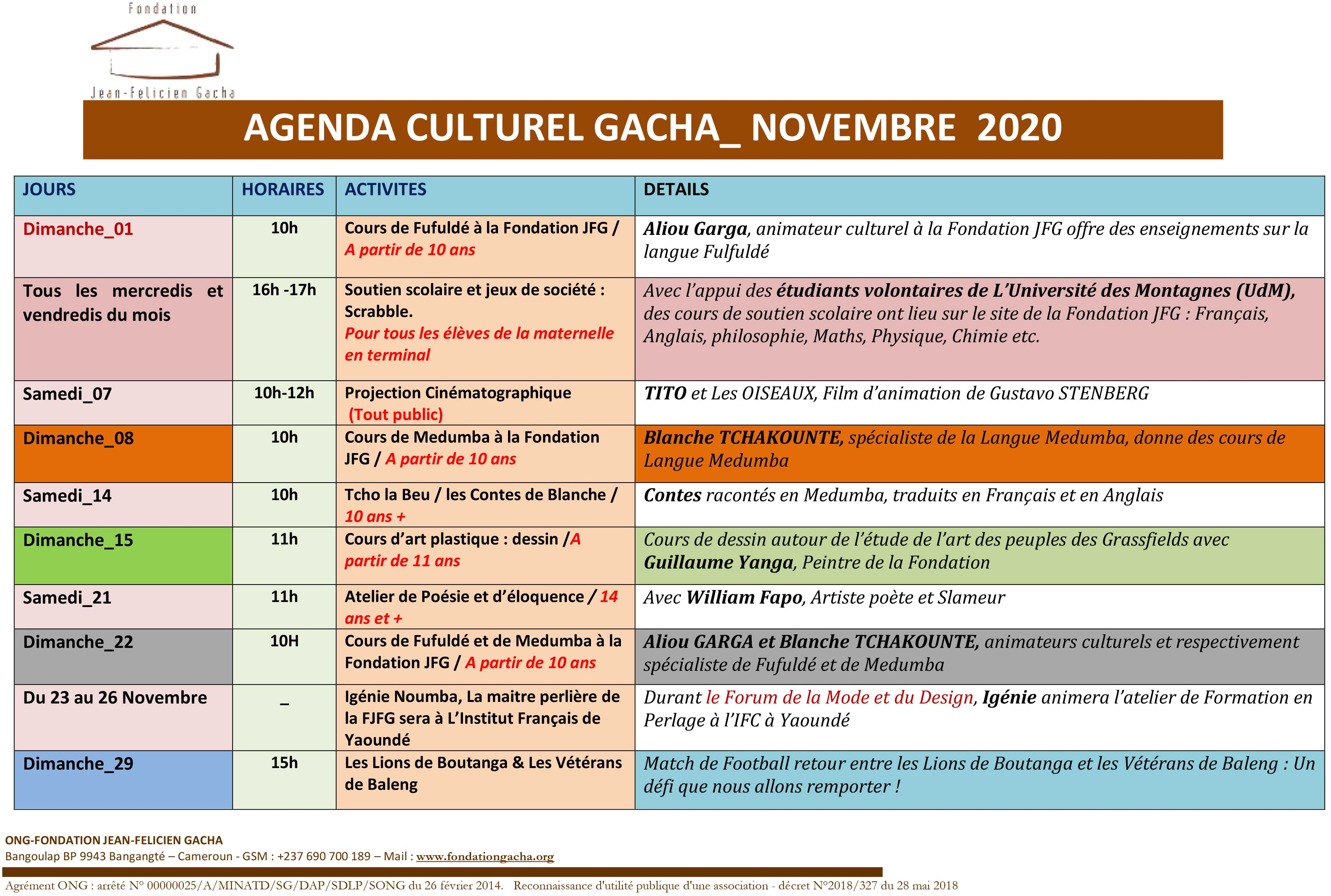 AGENDA CULTUREL DU MOIS DE NOVEMBRE 2020